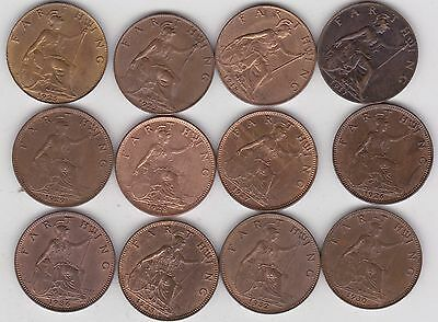 12 George V Farthings Dated 1917 To 1936 In High Grade