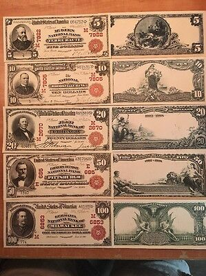 Copy 1902 5 PC Red Seal National Set Note US Currency Reproduction $5-$100