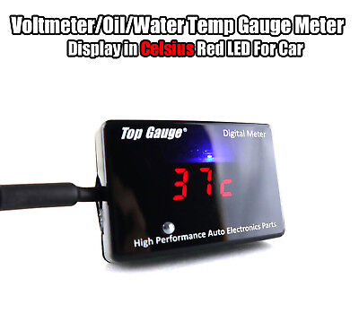 Top Gauge Car Digital Voltmeter/Oil/Water Temp Gauge Meter Red LED 3in1