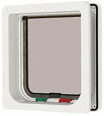 Cat Mate 235W 4 Way Locking Cat Flap/Door W/ Liner White Pet Sturdy New UK SELLE