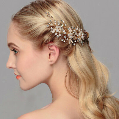2pcs Wedding Bridal Bridesmaid Rhinestone Pearl Flower Hair Pins Clip Gold