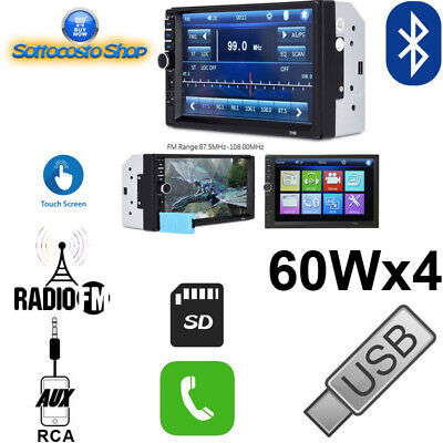 AUTORADIO STEREO AUTO LETTORE CD DVD MP3 AUX USB SD VIVAVOCE BLUETOOTH 52Wx4