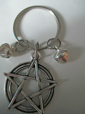 Wicca~Witch.protect Yr Cat Or Familiar Large Pentagram+Bells To Warn Birds Charm