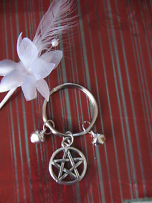 Wiccan~Witch..protect Yr Cat Kittie Familiar With A Keyring  Pentagram & 2 Bells