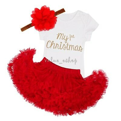 Infant Girls Baby My First Xmas Romper Tutu Dress Outfit Photo Costume+Headband