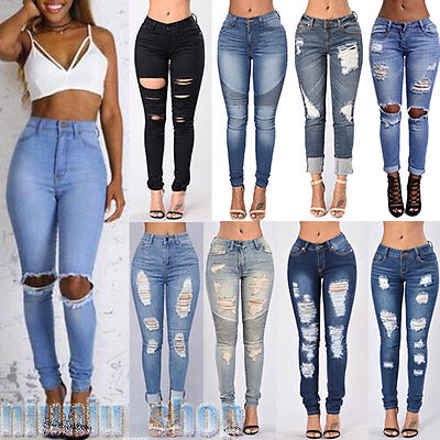 New Womens Ripped Jeans Knee Cut Jeggings Skinny Fit Stretchy Ladies Sizes 6-16