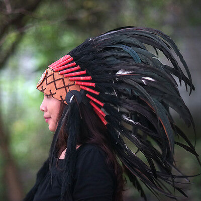 INDIAN HEADDRESS, Native American Costume, Chief Warbonnet Replica, Feathers