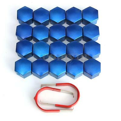 20x Blue Universal Wheel Nut Covers 17mm Hex Comes with Removal Tools valve caps