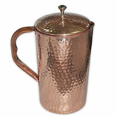 Handmade Pure Copper Jug Pitcher With Lid storage drinking Water Yoga Ayurved