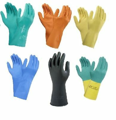 2 Pairs Ansell Marigold G12Y Yellow Household Rubber Work Gloves XL