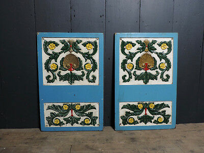 Antique Pair of Original Victorian Hand Painted Wooden Carved Decorative Panels