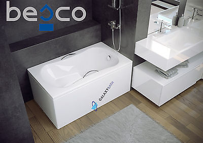 BESCO MODERN RECTANGULAR ACRYLIC BATH 1200x700mm WITH SEAT&PANEL&LEGS&HANDLES