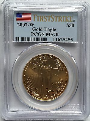 2007-W Burnished $50 GOLD EAGLE PCGS MS70 FIRST STRIKE