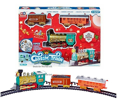 14 Piece Christmas Deluxe Kids Train Set With Sound & Light Tree Xmas Toy Gift