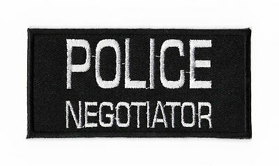 Police Negotiator Patch Black Embroidered Iron / Sew on Badge Tactical Costume