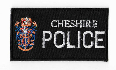 Cheshire Police Patch Black Embroidered Iron / Sew on Badge UK Tactical Costume