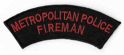 Metropolitan Police Fireman Embroidered Iron / Sew on Badge UK Tactical Costume