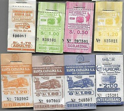 Peru Ticket 8 counterfoil of Bus Lot 3