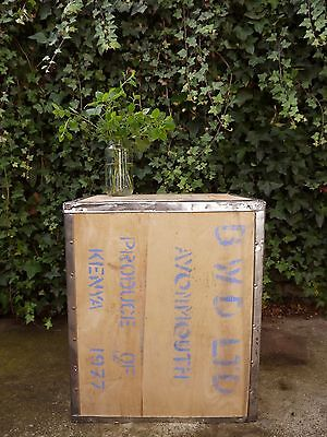 Vintage date stamped 1977 rustic pine board Kenyan coffee box chest table trunk