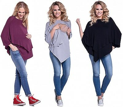 Happy Mama. Women's Maternity Nursing Double Layer Poncho Thin Knitwear. 441p