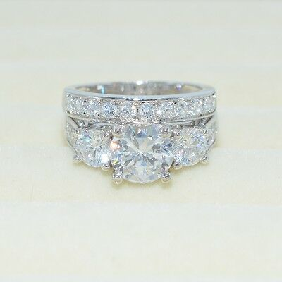 2.1ct Round Cut AAA CZ White Gold Filled Engagement Wedding Ring Set Size 5-10