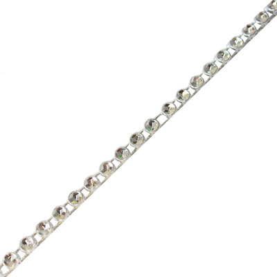 Silver Diamante Effect 1 Row Ribbon - 9m - Sparkling Rhinestone Diamond Trim
