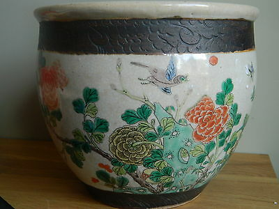 Antique 19th century Chinese hand painted famille verte pottery fish bowl / pot