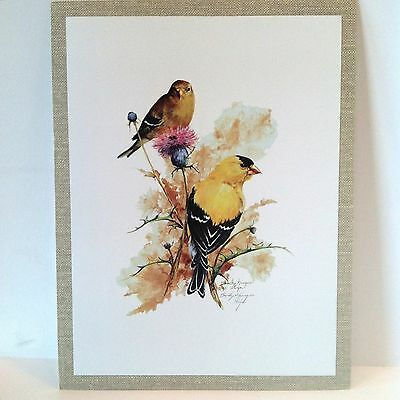 Vibrant! Goldfinch Portrait Repro. Print Acrylic Signed Becky Kruger Cyr 1983