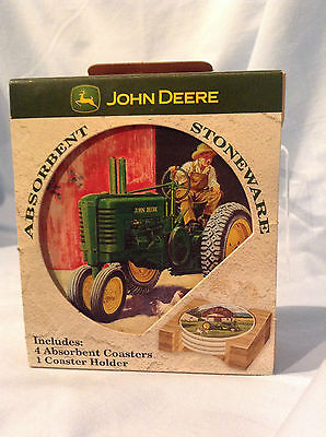 "John Deere Coasters by Nature Stone 4"" Set/4 Cork Backed with Wood Holder $19.99"