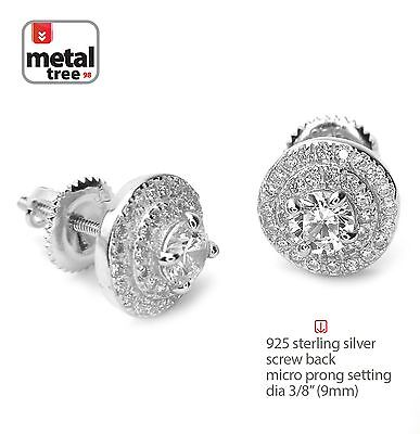 Men's Iced Out 925 Silver 3 Layer Round Micro Pave Screw Back Stud Earrings 469S