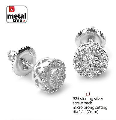 Hip Hop 925 Silver Micro Pave Double Round Screw Back Stud Men's Earrings 460 S