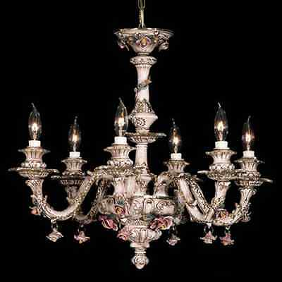 Capodimonte Made In Italy Chandelier 6 Lights (New) - Brown & Gold Finish