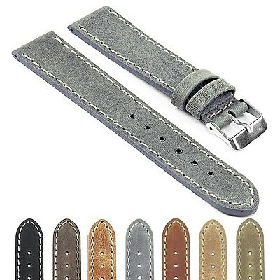 StrapsCo Vintage Style Distressed Leather Mens Watch Band Strap with Stitching