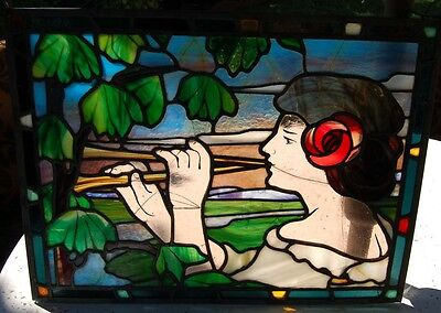 Antique Art Deco Nouveau Figural Stained Glass Window  Lady Flute