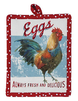 (1) Farm Nostalgia Rooster Country Kitchen Quilted Cotton Potholder