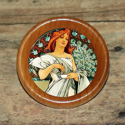 CUP of TEA Alphonse Mucha Altered Art Tie Tack or Ring or Brooch pin