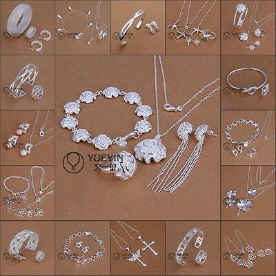 Wholesale pretty Solid925 Silver Jewelry Set Bracelet Necklace Ring Earrings+BAG