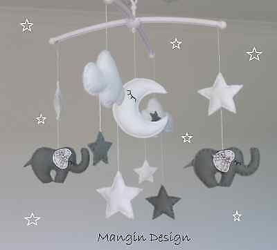 Cloud and star musical mobile baby cot mobile grey white nursery decor elephant