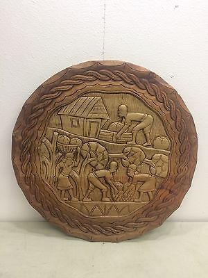 "Large 28"" Vtg Carved Ethnic African Wall Plaque Hanging Folk Art Tribal Round"