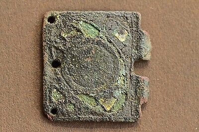 11th/12th Century Medieval Limoges Buckle Plate With Enamelled Knight & Shield