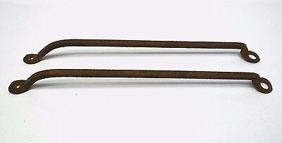 Antique Old Wrought Iron Bent Metal Rusted Towel Rack Handles Rails Hardware