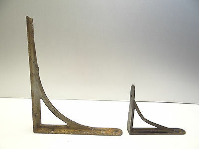 Two Antique Old Black Metal Iron Decorative Small Shelf Corner Brackets Parts