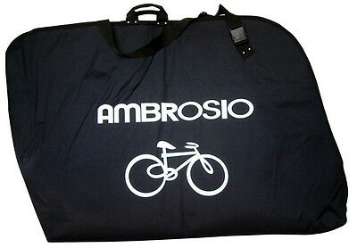 Ambrosio Padded Bike Carrying Bag Black Easy Clean Interior Wheel Compartments C