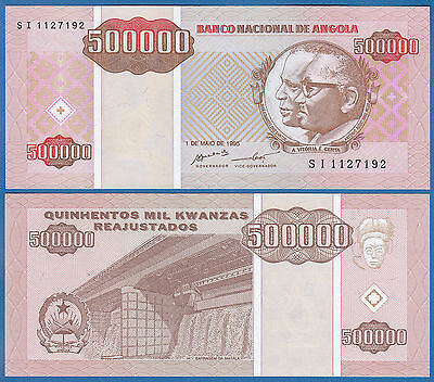 Angola 500000 Kwanzas P 140 1995 UNC Low Shipping! Combine FREE! 500,000