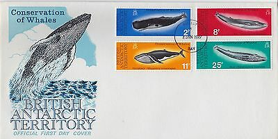 First day cover, British Antarctic Terr., Sc #64-67, Whale Conservation, 1977