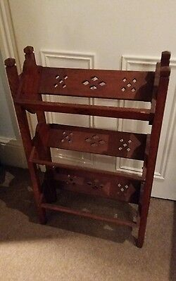 Vintage wooden arts and crafts 3 tier book trough, beautiful