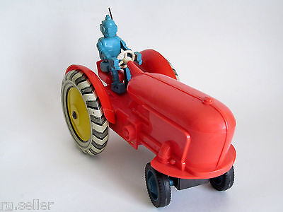 Blue Robot Drives Wheeled Tractor - Vintage USSR Soviet Russian Electric Toy