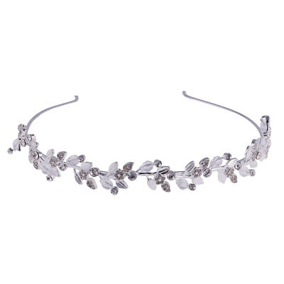 Silver Tiara Rhinestone Bridal Crystal Hair Headband Crown Pageant Headpiece