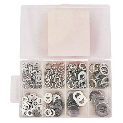 New 200pc Assorted Washers Threaded Fastener Screws Nuts Metal Mechanic DIY