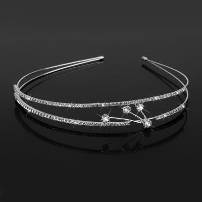 Crystal Tiara Crown Headband Jewelry Pageant Bridal Wedding Headpiece Silver